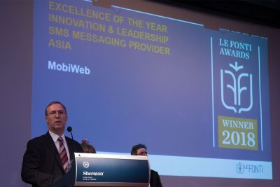 MobiWeb Awarded Excellence in Innovation and Leadership SMS Messaging Provider Asia at the Le Fonti Hong Kong 2018 Awards